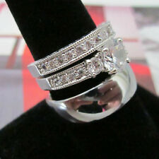 Three Ring Wedding Ring Set * His Silver Dome & Her Classic Italian 2 Ring Set