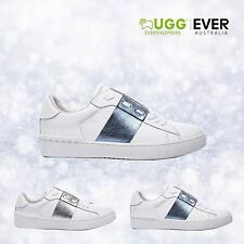 Ugg Lace Up Sneakers Casual Stripe Fashion Blue Silver Ladies Size 35-40 EU