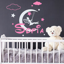Girls Name Wall Decal Moon Decal Fairy Sticker Cloud Vinyl Nursery Decor MM35