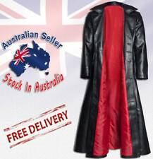 Gothic Long Coat Mens Steampunk Jacket PVC Leather Goth  Vampire Long Coat
