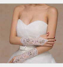 White/Ivory Crystal Wedding Bridal Accessory Beaded Lace fingerless gloves OS7