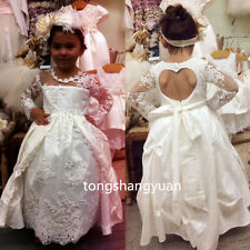 New Baby Girl Christening Baptism Sequin Formal Dresses Gowns White 0-24 Months