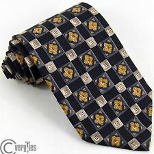 Business Casual Tie RAFFAELLO Blue Yellow Floral 100% Silk Made in Italy Necktie