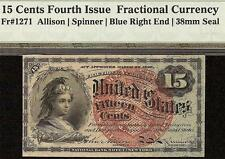 15 CENT FRACTIONAL CURRENCY UNITED STATES NOTE BLUE END 38 mm SEAL Fr 1271 PMG