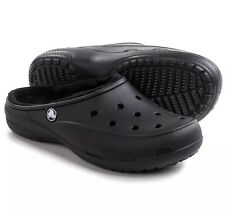 New Womens CROCS Freesail Solid Black Plush Lined Clogs Mules Size 6, 7, 10, 11