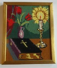 Swedish needlepoint framed picture, Bible, lit candle, vase with red roses