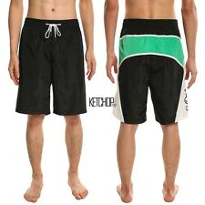 Men Casual Elastic Waist Drawstring Letter Print Beach Board Swim Shorts Shorts