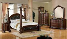 Canopy Bedroom Set in Brown Cherry Wood Finish Bed, Dresser, Mirror& Night Stand