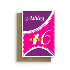 Sweet 16 birthday card for girl, edit name 16th happy birthday card for daughter