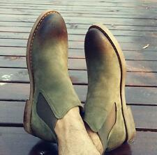 Mens Nubuck Leather Ankle Chelsea Boots Casual Retro Desert pull on Casual Shoes