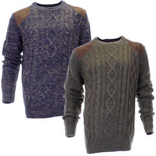 Mens Urban Revival Cable Knit Crew Neck Knitted Jumper Sweater In 2 Colours