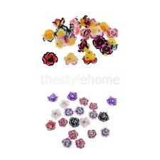 MagiDeal 20Pcs 15mm Mixed Colorful Rose Flower Polymer Clay Bead Jewelry Finding