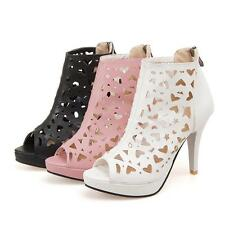 Womens Peep Toe Pump Hollow Out Shoes High Heels Pumps Zip Ankle Boots Sandals