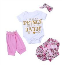4PCS Baby Girls Floral Letters Printed Romper Jumpsuit Bloomers Pants Dress