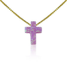 """Cross Opal Necklace Pink 12"""" to 22"""" Inch Long Sterling Silver Chain • Waterproof"""