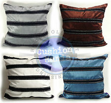 Black Velvet Stripe Cushions or Covers Only in 4 Lovely Colours