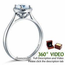 Sterling 925 Silver Bridal Wedding Promise Ring Floral 1 Ct  Handmade Diamond