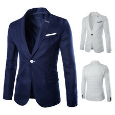2017 Hight Quality Casual Mens Blazer Jacket One Button Slim Fit suit 2 Colors