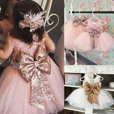 Sequin Baby Girls Bowknot Lace Princess Dress Pageant Party Birthday Cake Smash