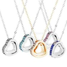 Fashion Lady Double Heart Love Crystal Rhinestone Necklace Clavicle Chain