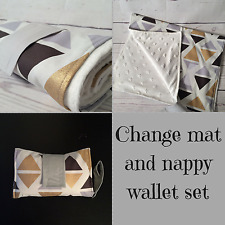 Nappy wallet/ clutch & large waterproof change mat set funky gold triangle