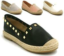 WOMENS LADIES SLIP ON FLAT ESPADRILLES SUMMER SHOES STUD ROCK CASUAL PUMPS SIZE