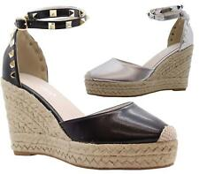 WOMENS LADIES HIGH WEDGE HEEL STUDDED ANKLE STRAP ESPADRILLES SHOES SANDALS SIZE