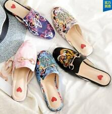 Womens Floral Embroidery Slippers Sandals Shoes Leather Flats Casual Mules Shoes