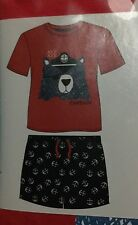 Boys Red Short Sleeved / Legged Pyjamas with Captain Bear Head detail