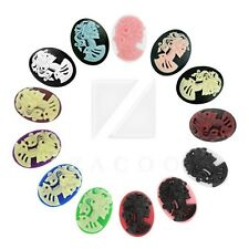Resin Cameo 18/25/40mm Lolita Skull Oval Flatback Cabochons Embellishments BF