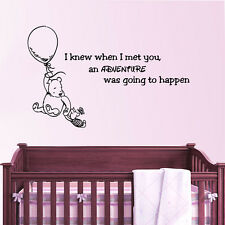 Winnie the Pooh Wall Decal Quote Adventure Vinyl Sticker Decal Nursery Decor ZX4