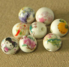 10Pcs Painting Pattern Round Ceramic Porcelain Loose Spacer Beads Charms 12mm