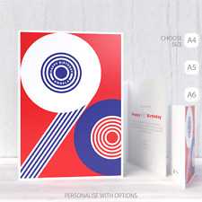 90th Happy Birthday Card for her for him red white blue patriotic typography