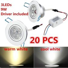 20X Dimmable 9W LED Downlight Recessed Ceiling Light Lamp cool/warm white+Drive#
