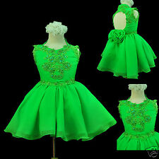 Infant Girl NATIONAL Paegent Party SHORT Dress Lime Green sz 1 2 3 4 5 6 7 New