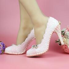 Womens white pearl bowknot lace Bridal wedding Dress high heels pumps shoes New