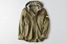 NWT American Eagle Women's PATCHED UTILITY JACKET Coat Olive - Size S
