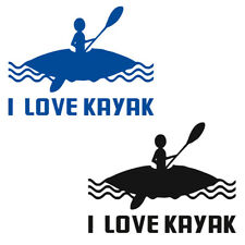 Waterproof I LOVE KAYAK Decals Kayak Canoe Boat Car Funny Stickers