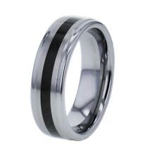 8mm Black Carbon Fiber High Polish Tungsten Jewelry Men's Wedding Band