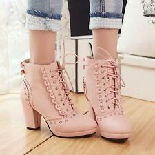 New Chic Ladies Womens Lace Up Platform High Block Heel Mid Calf Boots Plus Size