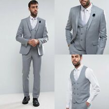 New Lapel Men Suits Jacket+Pants+Vest Groom Tuxedos Business Formal Custom Gray