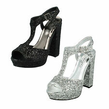 SALE LADIES SPOT ON HIGH BLOCK HEEL GLITTER CASUAL PARTY SHOES F10567 SIZES 3-8