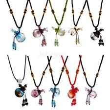 Charm Glass Bottle Cork Pendant Vial Necklace Adjustable Braided Rope Chain