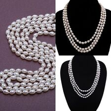 """New Three-strand Oval Shape Real Cultured Freshwater Pearl Necklace 16-18"""" JYX"""