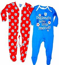 Ex Store 2 Pack Baby England Football Sleepsuits 3-6, 6-9, 9-12 Months