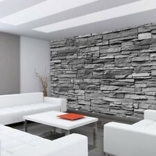 "Fleece Photo Wallpaper ""Asian Stone wall - anthracite - stacking"" ! S"