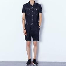 Mens Casual Jumpsuits Short Sleeve Denim Shorts Rompers Slim Straight Overalls