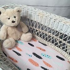 Bassinet, Moses or Boori basket cotton fitted sheet Soft pink tribal feather