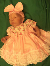 "DREAM BABY GIRLS PINK FLORAL DRESS & HBD NEWBORN 5-8 LB  OR 17-19"" REBORN DOLL"