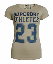 New Womens Superdry Factory Second New Athletes Entry T-Shirt Cliff Grey